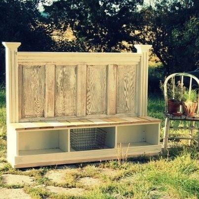 A headboard bench.  Storage baskets under bench!