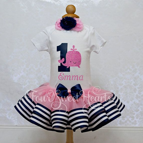 Nautical Birthday Outfit Girls Whale First by FourSweetHeartsTutus