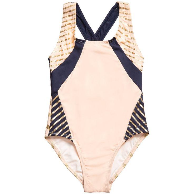 Carrément Beau Girls Pink, Navy Blue & Gold Swimsuit at Childrensalon.com