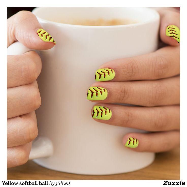 Yellow softball ball minx nail wraps