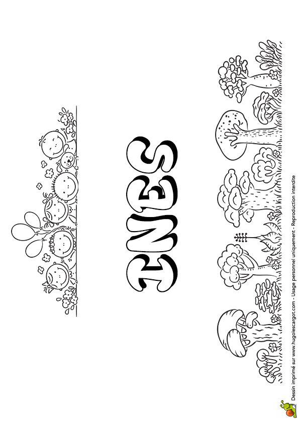 Dessin à colorier en version Bulles de savon du prénom Inès