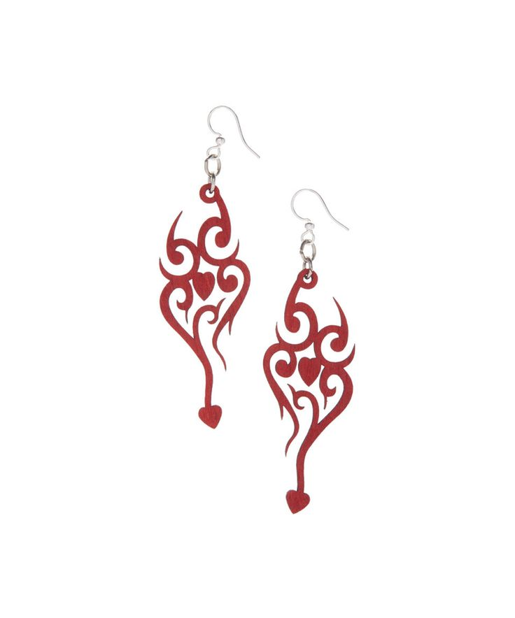 This Red Heart Tattoo Drop Earrings by Green Tree Jewelry is perfect! #zulilyfinds