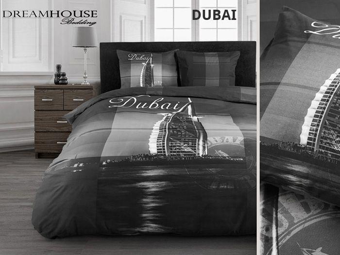 Modna czarna pościel z motywem miasta Dubaj