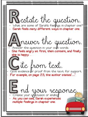 RACE Writing Response Strategy for Common Core Text Dependent Questions from A Touch of Class Teaching on TeachersNotebook.com (10 pages)