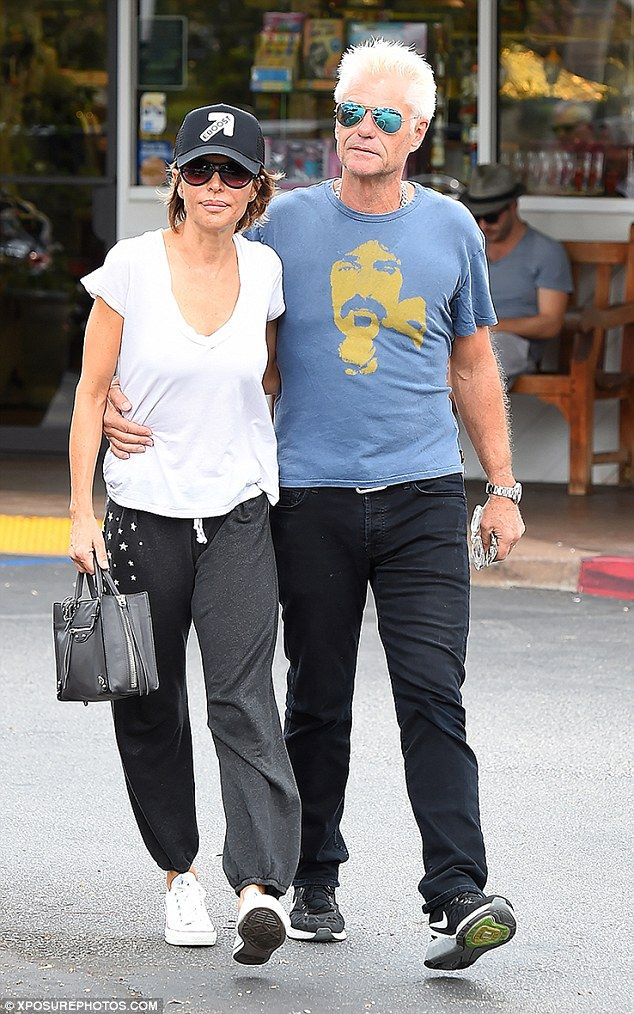 Getting into character! Lisa Rinna stepped out with her husband Harry Hamlin, who had a head full of bright white hair, in Los Angeles on Sunday