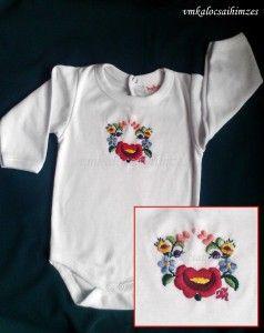 Kézzel hímzett színes kalocsai baba body (4)