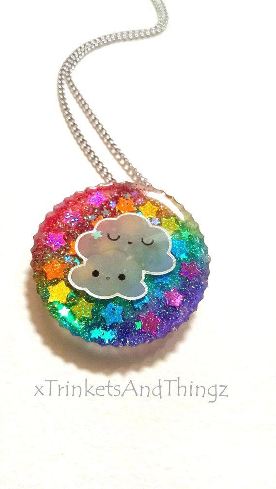 kawaii cloud and resin charm, kawaii resin, resin charm, resin pendant, rainbow resin charm, rainbow resin on Etsy, $5.00