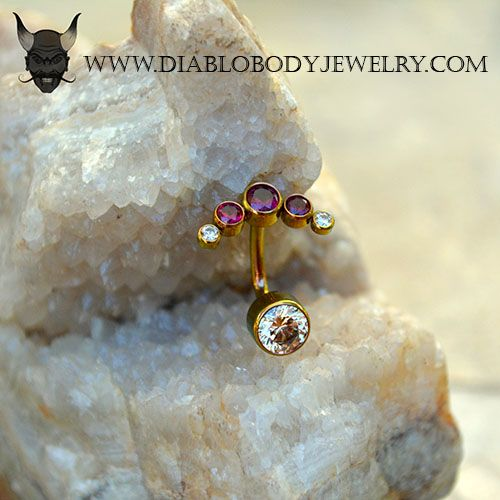 Anatometal Rose Gold Titanium 5 Gem Cluster -Curve Navel or Rook Jewelry with Garnet and Champagne CZs