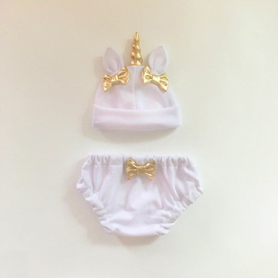 Unicorn Baby Hat & Bloomers Set White by lovewhatsmissing on Etsy