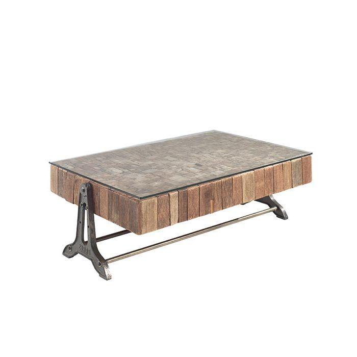 table basse teck recycle metal lampang