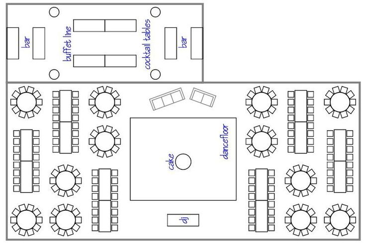 Wedding Reception Layout ... It's so stupid how the cake is in the middle of the dance floor, that's a disaster waiting to happen