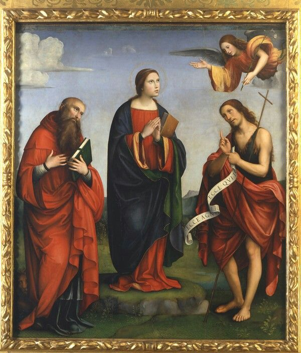 1505-1510. Annunciazione tra i santi Girolamo Giovanni Battista. Eseguita poco dopo l'oratorio di Santa Cecilia; modi Raffaeleschi