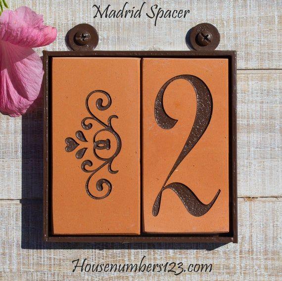 Terracotta House Numbers Framed Madrid Design Spanish Tile Etsy In 2020 Mediterranean House Numbers Spanish Tile House Numbers