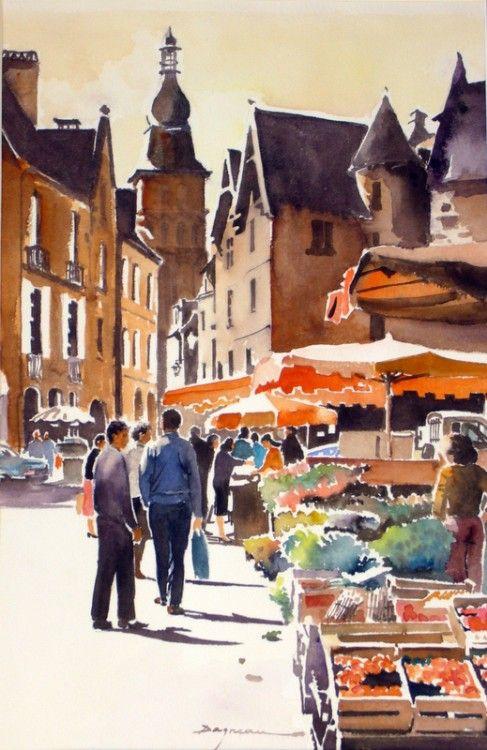 sarlat-1.jpg - Peinture,  60x80 cm ©2014 par jean guy DAGNEAU -                                                            Art figuratif, Papier, La vie rurale, sud ouest