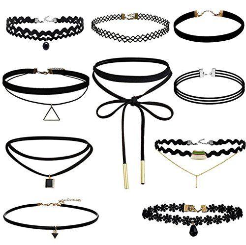 ASSKDAN 10 Stück Choker Halsketten Set Velvet Tattoo langkettige PU Schwarze