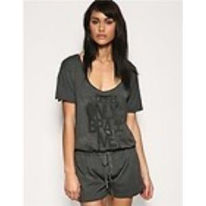 Diesel Womens Teenagers Only the Brave Distressed Grey T Shirt Playsuit Onesie style. (Grey)