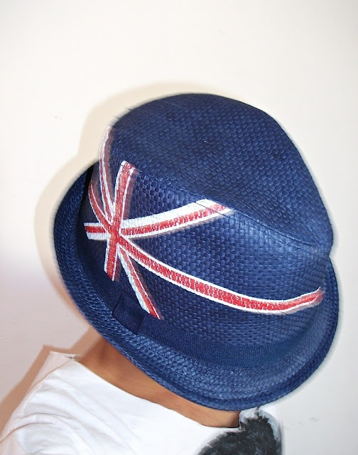 Union Jack Print Turned Brim Plaited Hat