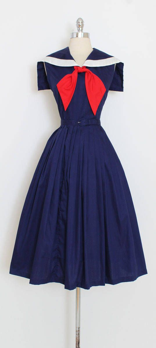 ➳ vintage 1950s dress * darling sailor dress! * navy blue cotton * sailor collar * metal side zipper * matching belt condition | excellent fits like large length 47 bodice 17 bust 40 waist 30 ➳ shop http://www.etsy.com/shop/millstreetvintage?ref=si_shop ➳ shop policies http://www.etsy.com/shop/millstreetvintage/policy twitter | MillStVintage facebook | millstreetvintage instagram | millstreetvintage 5987/1722