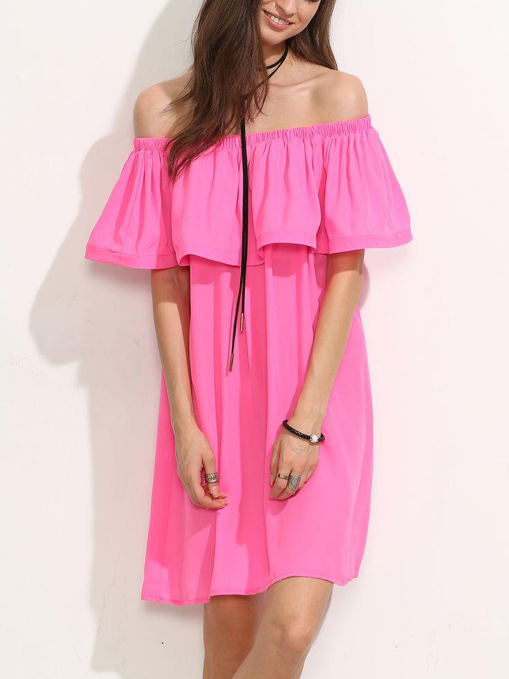 #AdoreWe #SheIn Dresses - SheIn Hot Pink Ruffle Off The Shoulder Shift  Dress -