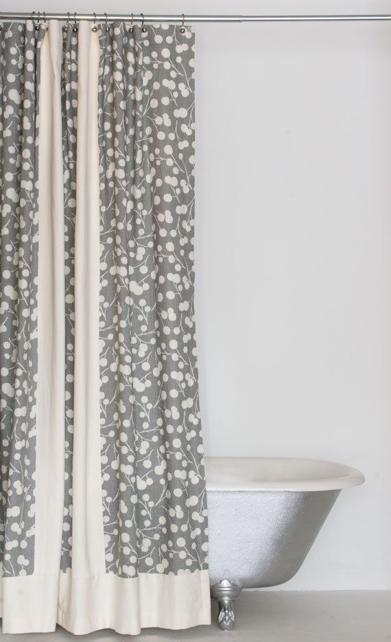 extra long grey linen hemp and organic cotton shower curtain