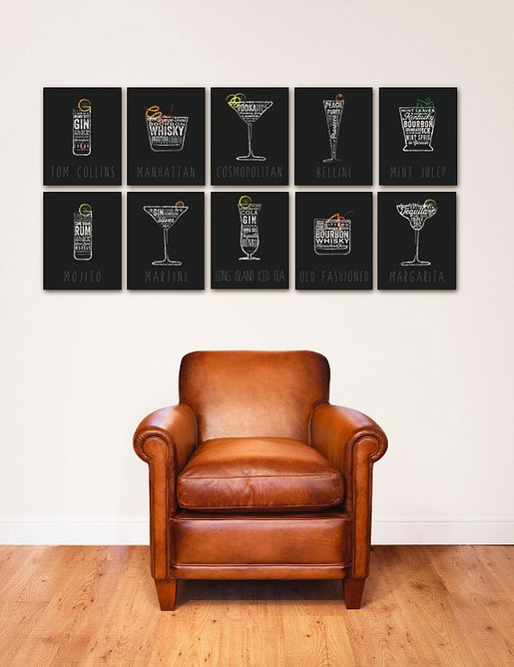 Cocktail recipes typography bar art original graphic artwork canvas panel by stephen fowler