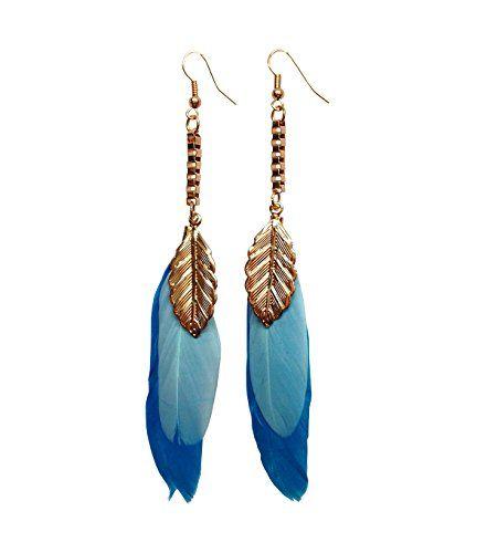 Feder Schmuck Ohrringe Federn Modeschmuck Ohrhänger in gelb  blau  weiß  schwarz  lila (blau)