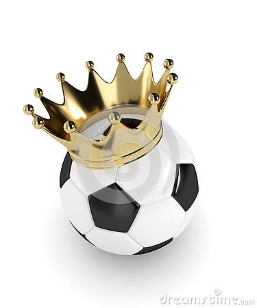 3d rendered soccer ball with a golden crown  over white background