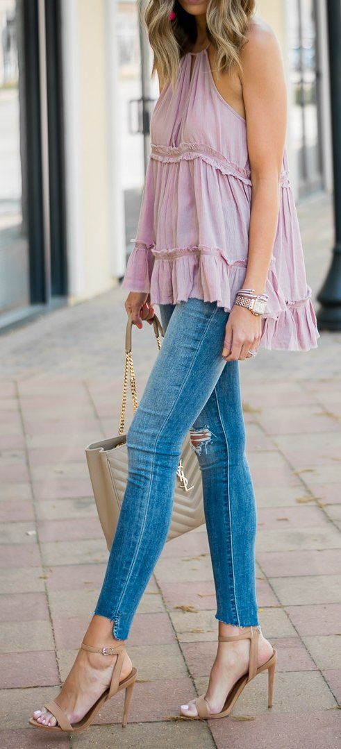 #spring #outfits  Pink Blouse & Skinny Jeans & Brown Sandals
