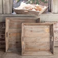 """Dimensions: Medium- 22""""x 22""""x 4"""" Large- 24""""x 24""""x 4"""" Reclaimed wooded trays with handle cutout that add vintage charm to any space."""