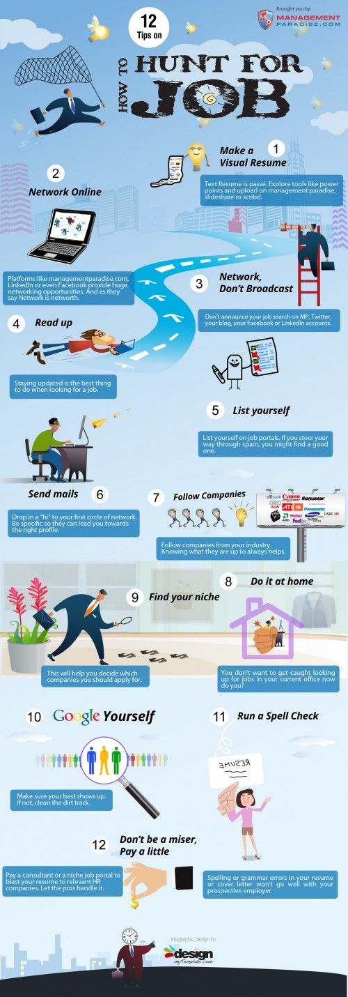 12 tips how to hunt for jobWork, Job Search, Job Advice, Job Infographic, Jobsearch, Job Hunting, Career, How To, Buscar Trabajo