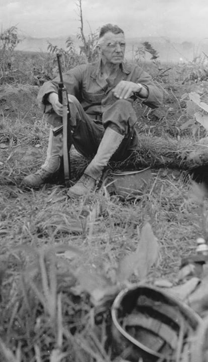 Lieutenant General Joseph Stilwell with an M1 carbine at Myitkyina airfield Burma 17 July 1944.