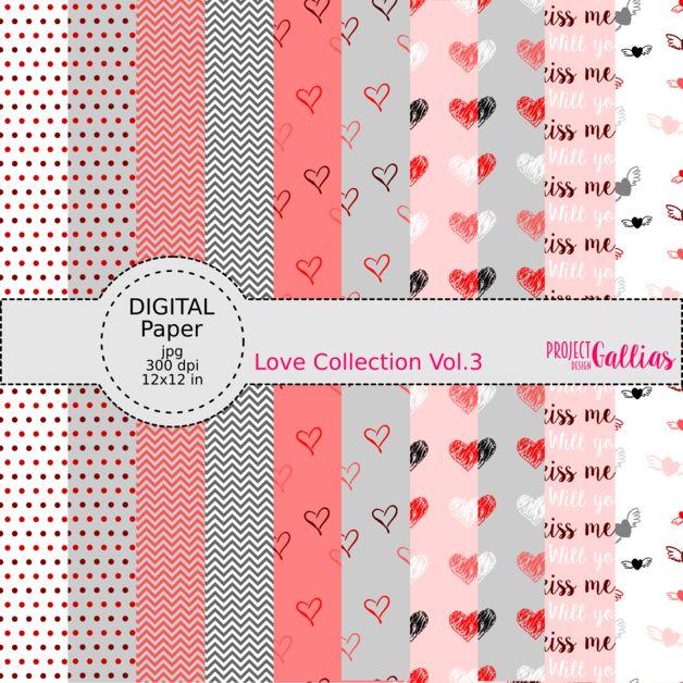 Digital scrapbooking Paper by ProjectGallias printables, mint, grey, white, pink, red, black, heart, love, valentine's day; Cyfrowy papier do scrapbookingu do samodzielnego wydruku, kolory: mięta, szary, biały, różowy, czerwony, czarny, serce, miłość