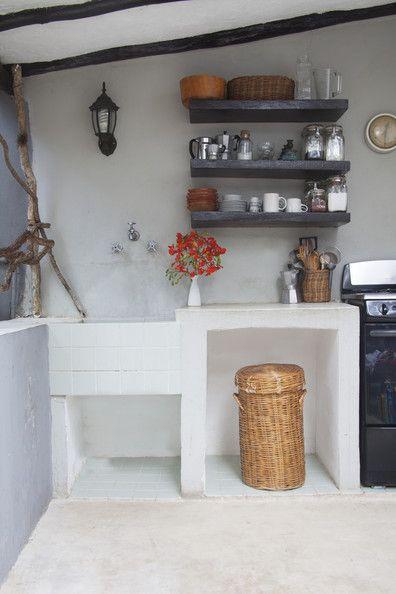 Wooden floating shelves in a kitchen. Lonny June 2013