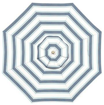 11-Foot Auto-Tilt Umbrella, Suzanne Kassler Nantucket Stripe Blue Sunbrella - traditional - outdoor umbrellas - Ballard Designs