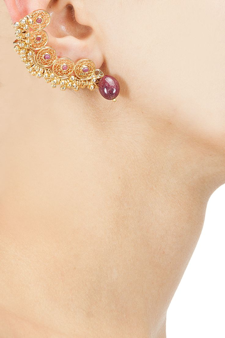 Textured circles earcuffs with ruby maniya drop available only at Pernia's…