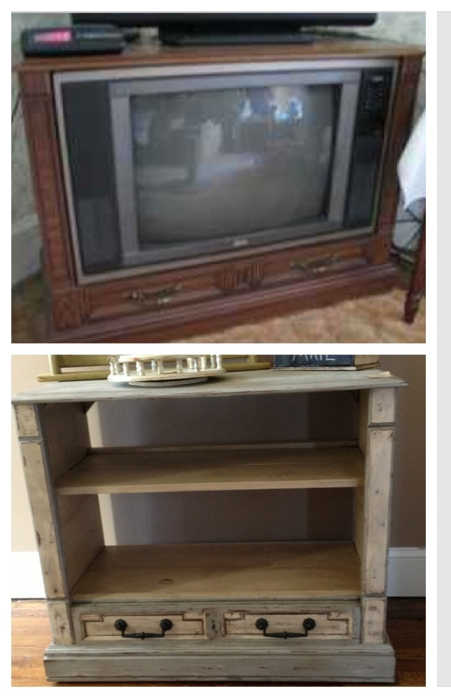 Upcycled tv console/cabinet into a bookcase/tv stand with distressed paint technique   www.facebook.com/thesugarberryshack