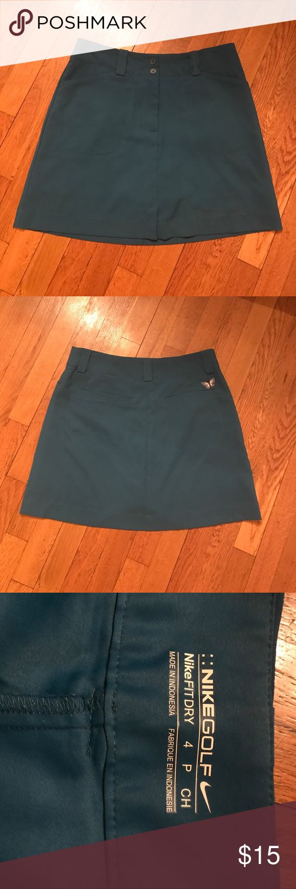 Nike Golf Fit Dry Blue Tennis Mini Skirt Super cute skirt with butterfly detail on the back. Front and back pockets. Excellent condition, tiny snag on front of the skirt as pictured but it really isn't noticeable! 16 inches long. Nike Skirts Mini