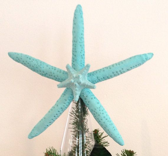 Starfish Tree Topper - Tropical Turquoise Starfish with Center Glittered Starfish - Christmas Decoration/Beach Decor/Christmas Starfish