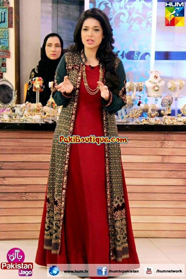 Pakistani actress Sanam Jang looking pretty in Frock with long vest
