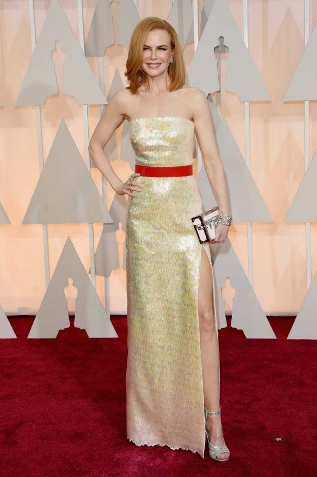 87th Academy Awards: Oscars 2015 red carpet : Nicole Kidman in Louis Vuitton and Harry Winston diamonds