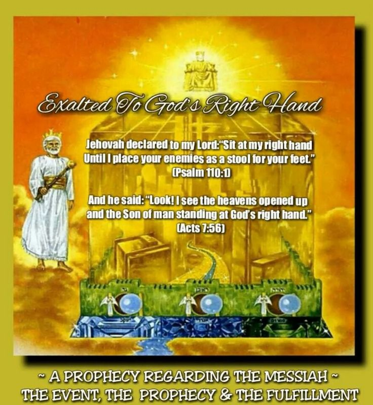 "~ A PROPHECY REGARDING THE MESSIAH ~  THE EVENT, THE  PROPHECY & THE FULFILLMENT // Exalted To God's Right Hand//  Jehovah declared to my Lord: ""Sit at my right hand Until I place your enemies as  a stool for your feet."" (Psalm 110:1) // And he said: ""Look! I see the  heavens opened up and the  Son of man standing at God's  right hand."" (Acts 7:56)"