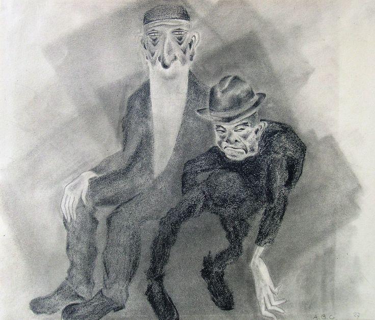 Anna Babette Conrady-Erkes, 'Älterer Rabbi mit kleinwüchsigem Mann'; Bleistift und Kohle auf Papier, 1927