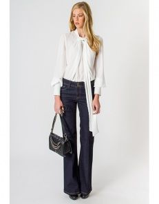 High waist denim trousers