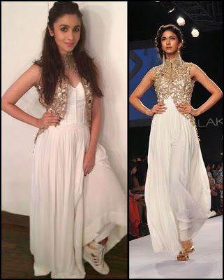 Alia Bhatt in a beautiful off-white gown by Sonaakshi Raaj with golden cut work jacket, paired with Cream Adidas Wedge Sneakers