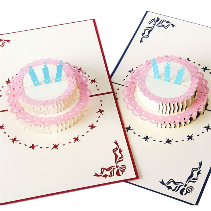 3D Pop Up Greeting Card Handmade Happy Birthday Cake Valentines Day Thank You Postcard New XQ Drop shipping #Affiliate