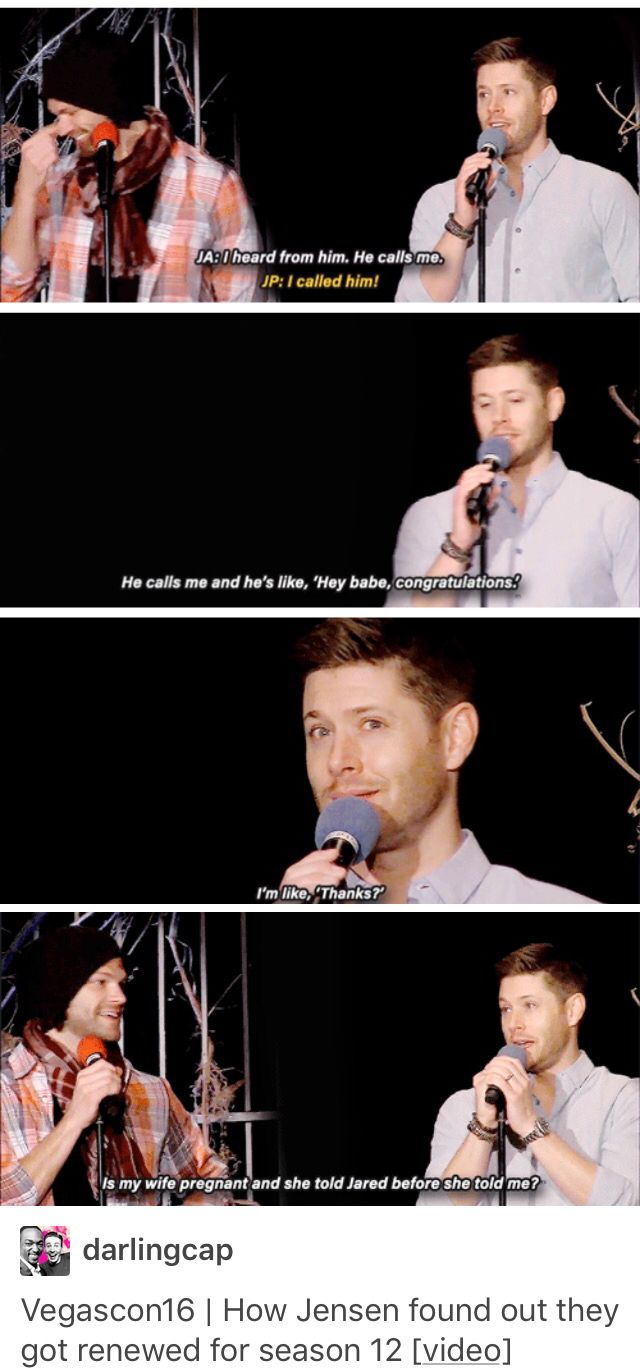 JA: he [Jared] calls me and he's like 'Hey babe...' HEY BABE! Why is no one talking about the fact that Jared calls Jensen BABE, or that Jensen's so use to it that it doesn't even register with him that he just let us know this?!?