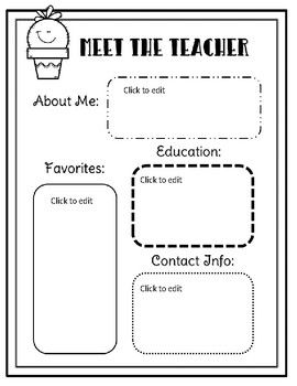"Be SHARP this school year with this ""Meet the Teacher"" Flyer for Open House. This page is editable to add in your own information and picture!! This FREEBIE is part of my Cactus Themed OPEN HOUSE bundle for all your Open House needs!! (Student All about Me Poster, welcome banner, donation station, sign in station, bulletin board display, invitation, & more!!!)"