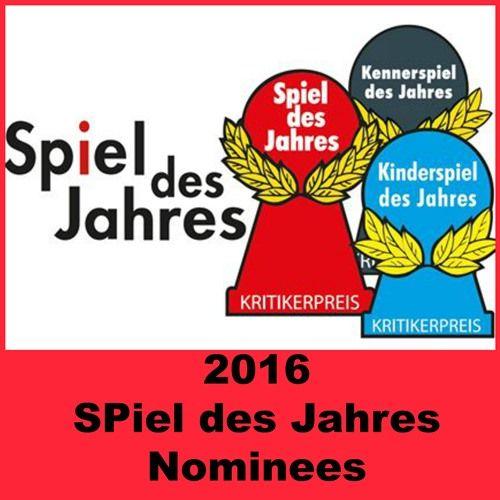 The 2016 Spiel des Jahres Nominees have been announced for SPiel des Jahres, Kinderspiel des Jahres and Kennerspiel des Jahres. Check it out!