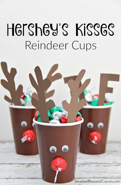 Make a cute and easy Reindeer Paper Cup Craft using Hershey's Kisses. A great holiday gift idea!