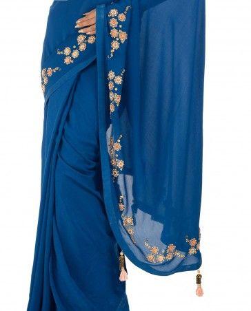 Monaco Blue Sari with Embroidered Yellow Blouse - Saris - Apparel